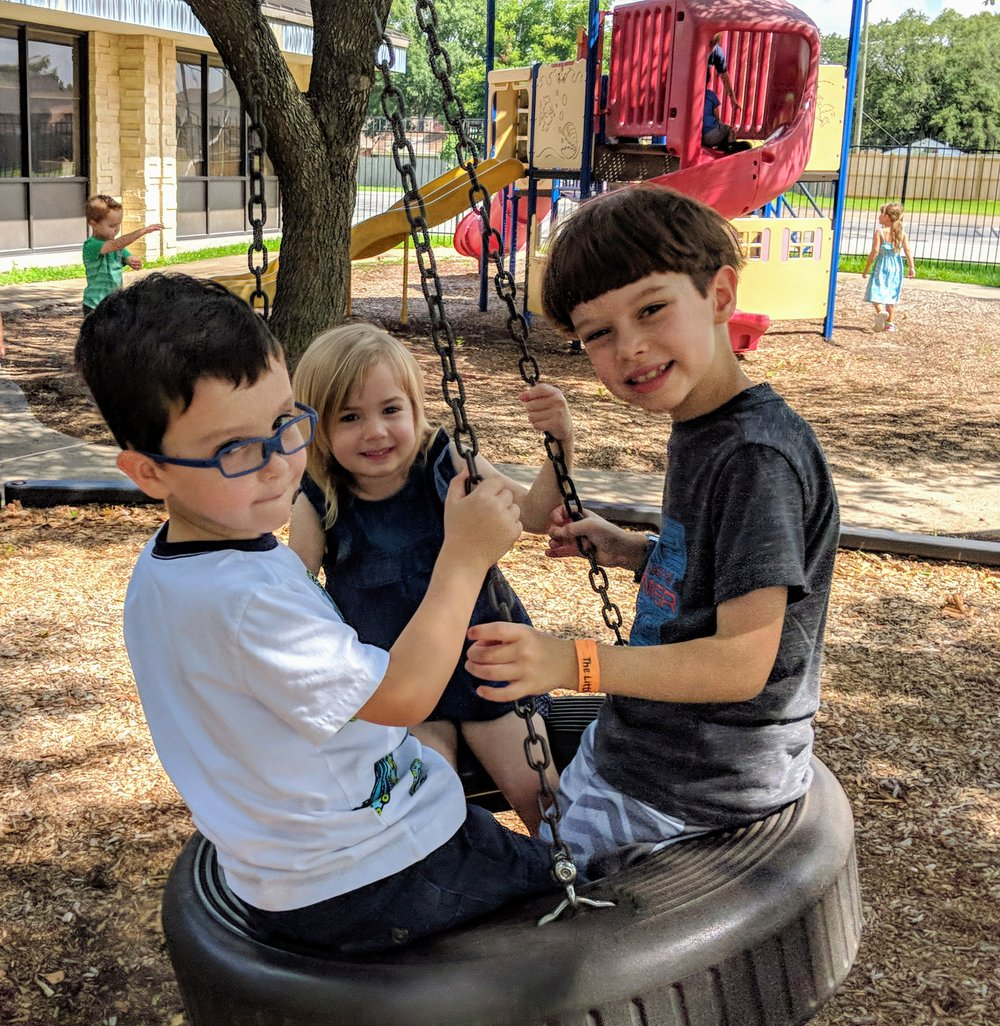 Tire swing on Preschool playground