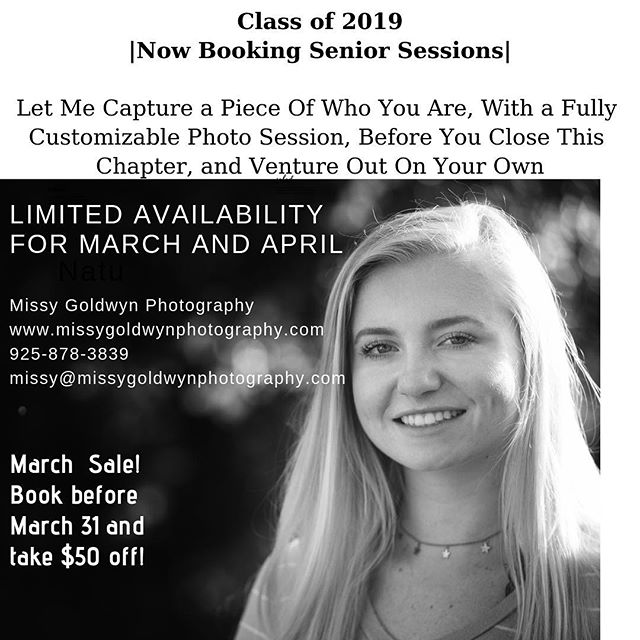 Don't forget to book your senior session!! The next four months are going to fly by... #acalanes2019 #acalaneshighschool #campolindohighschool #miramontehighschool #classof2019 #highschoolseniors #highschoolseniorphotographer #graduationpictures #lamorindaphotographer #lafayetteca #lafayettecalifornia #lafayettephotographer #portraitphotography #missygoldwynphotography