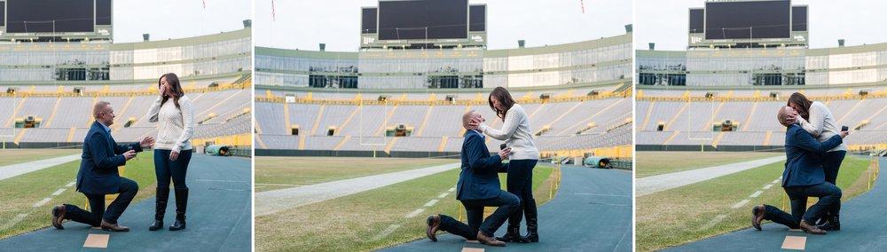 Lambeau Field Surprise Proposal | Engagement Photography | KLEM Studios, Wedding + Boudoir Photographer