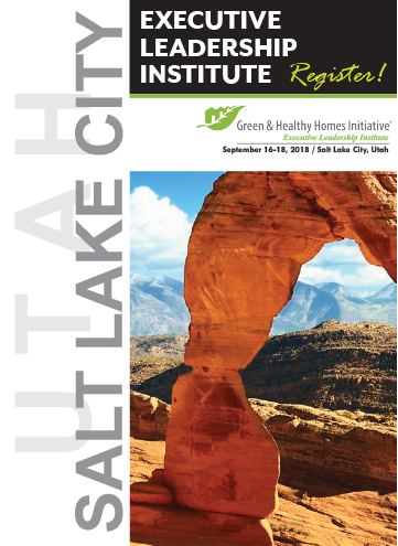 We hope you can join us... - Green & Healthy Homes Initiative invites you to attend the 9th annual Executive Leadership Institute (ELI) that will be held in Salt Lake City, Utah on September 16-18, 2018. The Institute is a forum for interactive learning and discussion around national best practices and tools to advance healthy, safe, and energy efficient housing.The three-day summit provides an opportunity for you to engage directly with leaders from key sectors such as healthy housing, social impact financing, and philanthropy to learn innovative ideas and practical solutions for creating meaningful impacts.GHHI has taken a steadfast approach to building its role nationally to foster partnerships to drive awareness and action towards creating healthy homes for families in cities across the nation. Since its launch of one of the nation's first holistic healthy homes programs in 1997, GHHI has offered solutions to families who are dealing with challenging environmental hazards within their home.Registration Information:We hope you can join us. To register and learn more about this great opportunity visit us online www.ghhiconvenes.orgwww.greenandhealthyhomes.orgWe hope to see you there!Contact UsGreen & Healthy Homes Initiative2714 Hudson StreetBaltimore, MD 21224P: 443-687-7344F: 410-534-6475www.ghhi.org