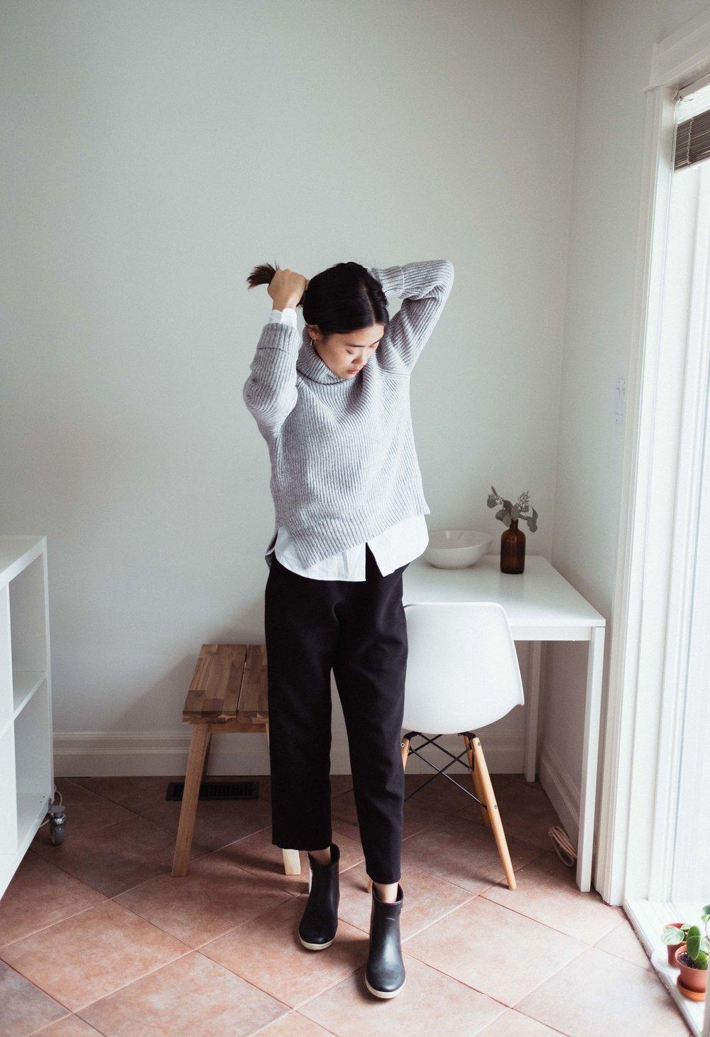 Sweater: Artizia | Dress Shirt: Muji | Pants: Oak + Fort | Boots:  Alice + Whittles