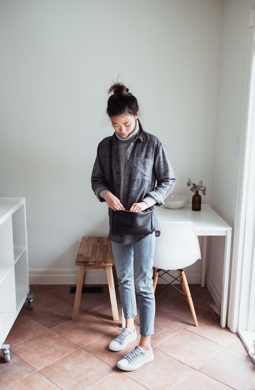 Sweater: Artizia | Shirt: Frank and Oak Mens | Bag:  Velé  | Shoes:  People Footwear