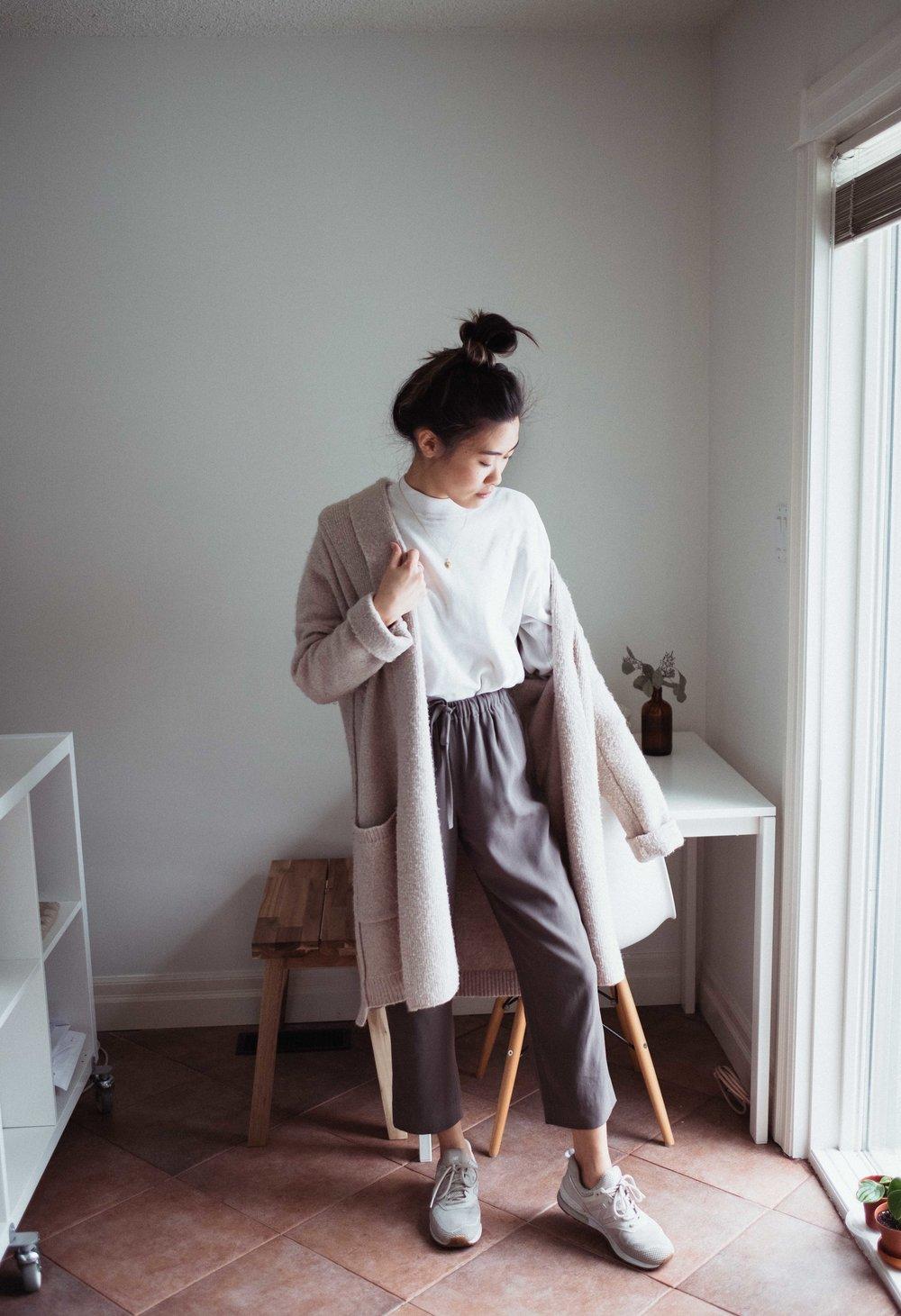 Top: H&M | Cardigan: Max Studio | Pants: Aritzia Shoes: New Balance | Necklace:  Mejuri