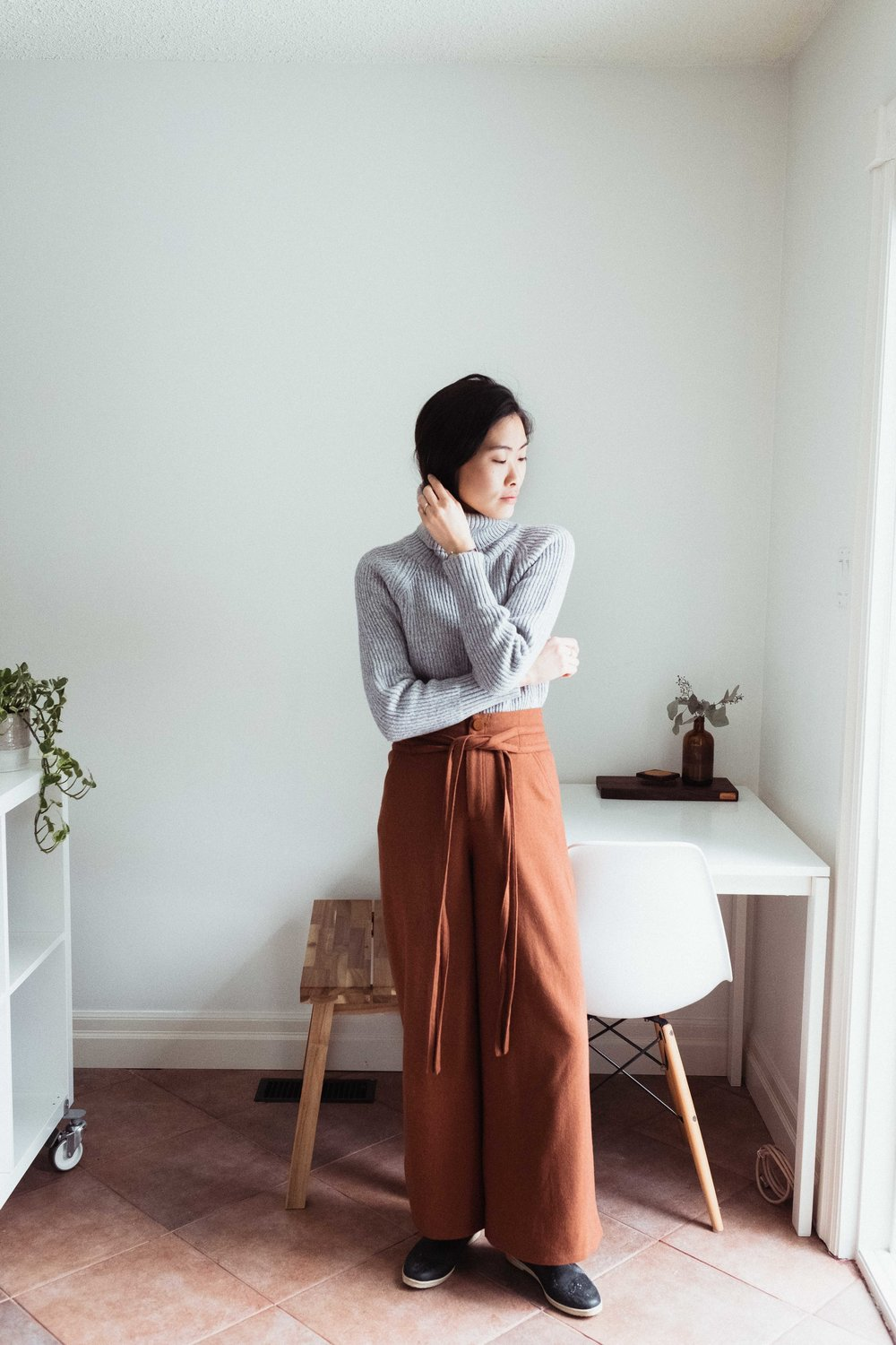 I'm wearing an old Aritzia 100% wool knit here paired with some wide-leg wool trousers by  SKYE .