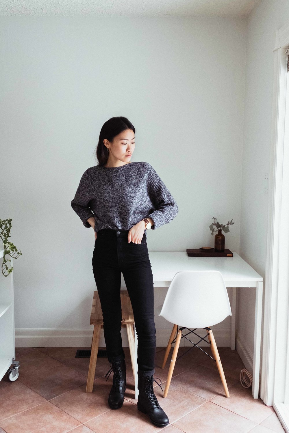 Old Aritzia wool and cashmere blend knit with black jeans.