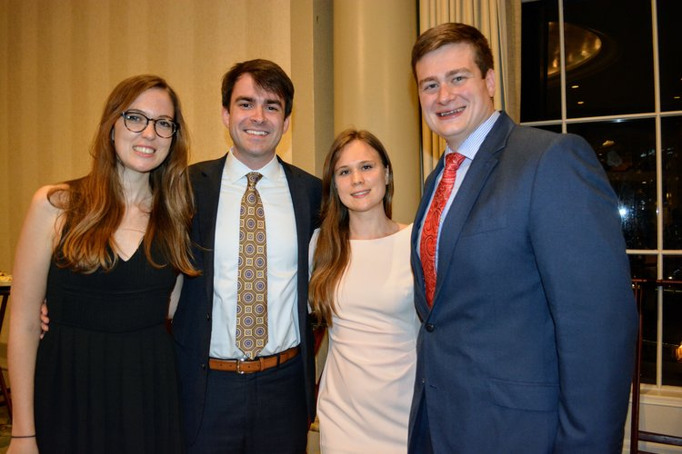 Members of Volume 93's Senior Board—Anais Moore-Jaccard, Luke LaHaye, Julianne Weidman, and Ryan Niedermair—celebrate at the annual Tulane Law Review Banquet.