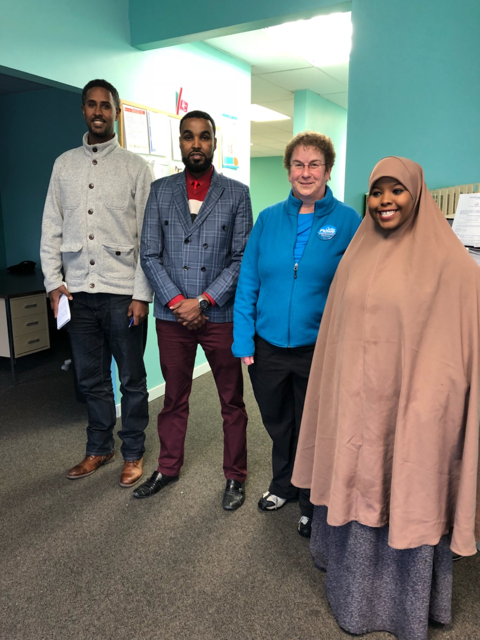 ESPN International - Coverage of Willmar High School football star Hamza Mohamed brought ESPN International to Willmar Saturday! Reporter Tesfaye Negussie interviewed us as part of the background about Willmar.  (left to right: Tesfaye, Abdirahman, Anita, Hamdi)  November 3, 2018