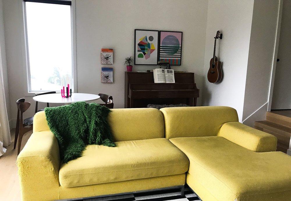 IKEA + Kramfors + Yellow + Sofa + Sectional + Slipcover