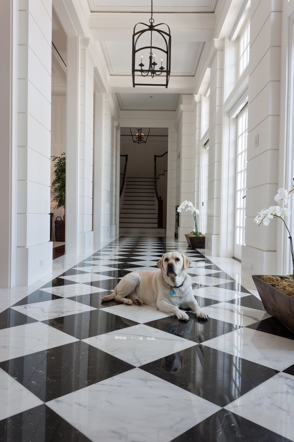 black and white marble, traditional home, hallway