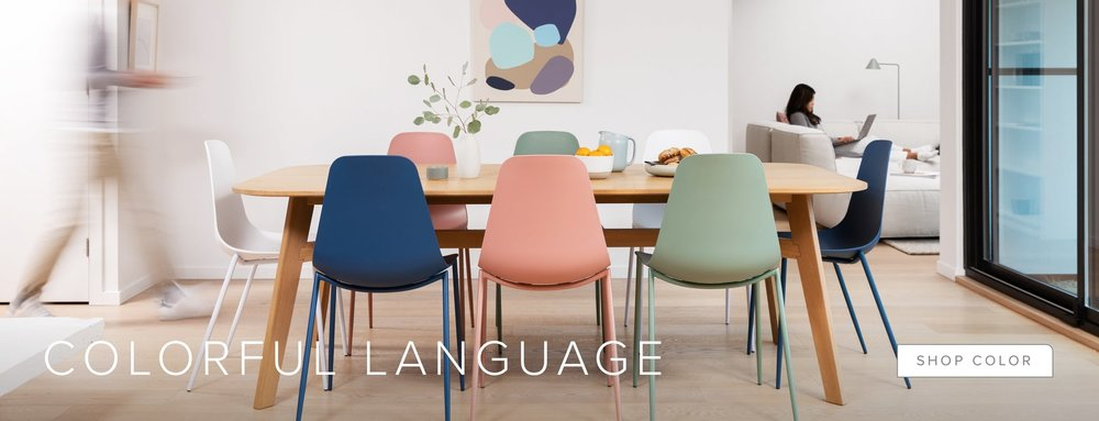 pastel colours, soft shapes, article furniture, dining room