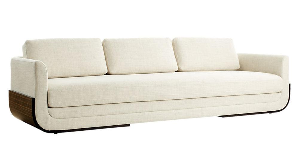 cb2 remy sofa, soft curves, interior design, cream sofa, cream couch, wood couch