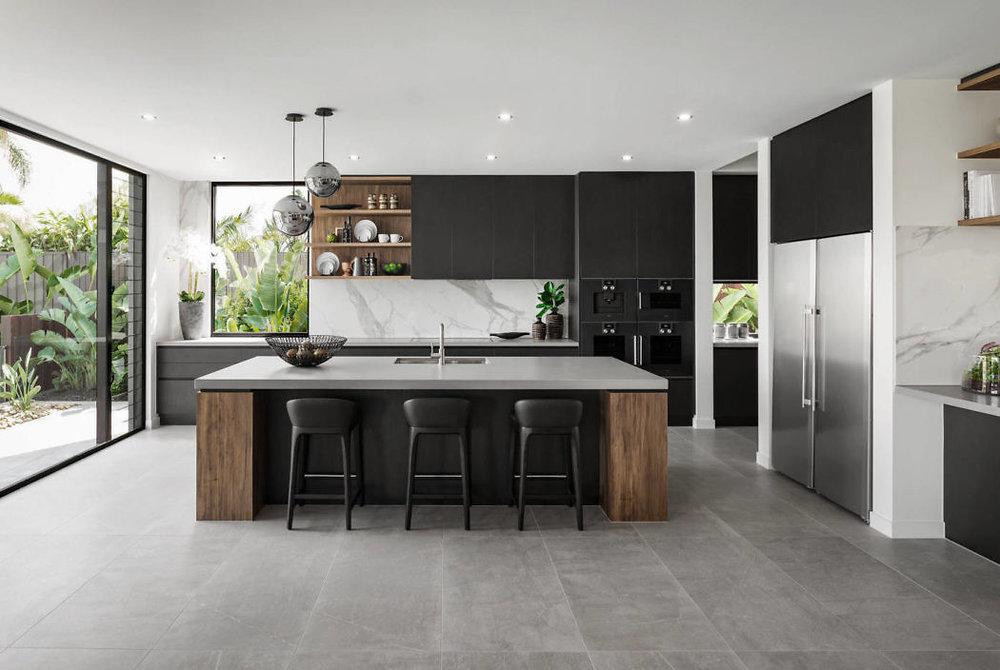 black kitchen, black and white kitchen, modern kitchen, marble countertops