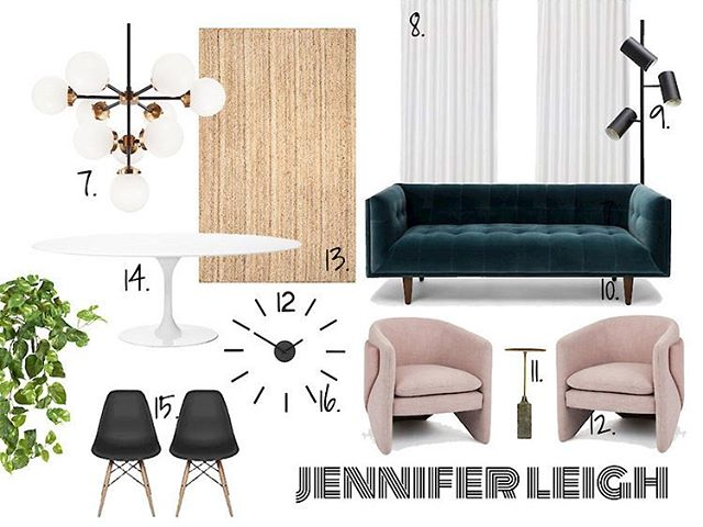 Design board for a hypothetical house we all renovated together. Actually, it's a real house but we hypothetically renovated it. To see what we did, check out my latest blog post! Link in bio.