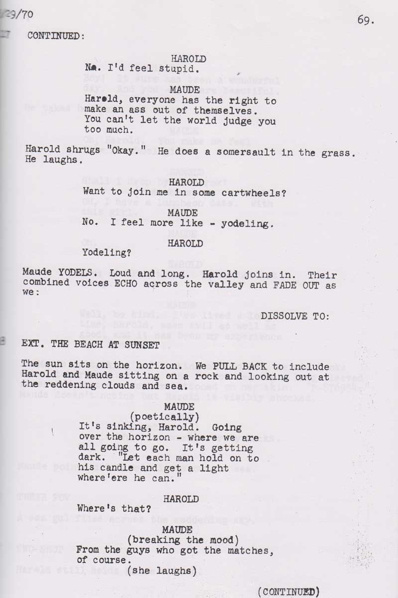 screenplay 101 harold and maude the writers guild foundation