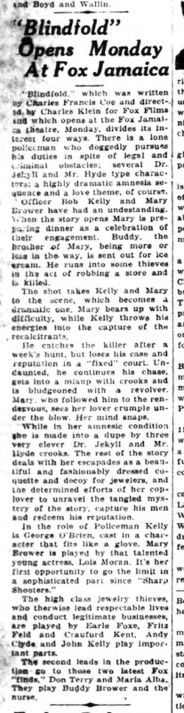 Long Island Daily Press BLINDFOLD review 1929