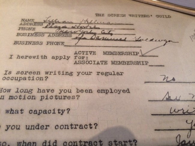 We also featured an exhibit of archival materials spotlighting women in writing - like Lillian Hellman's original application to the Screen Writers Guild.