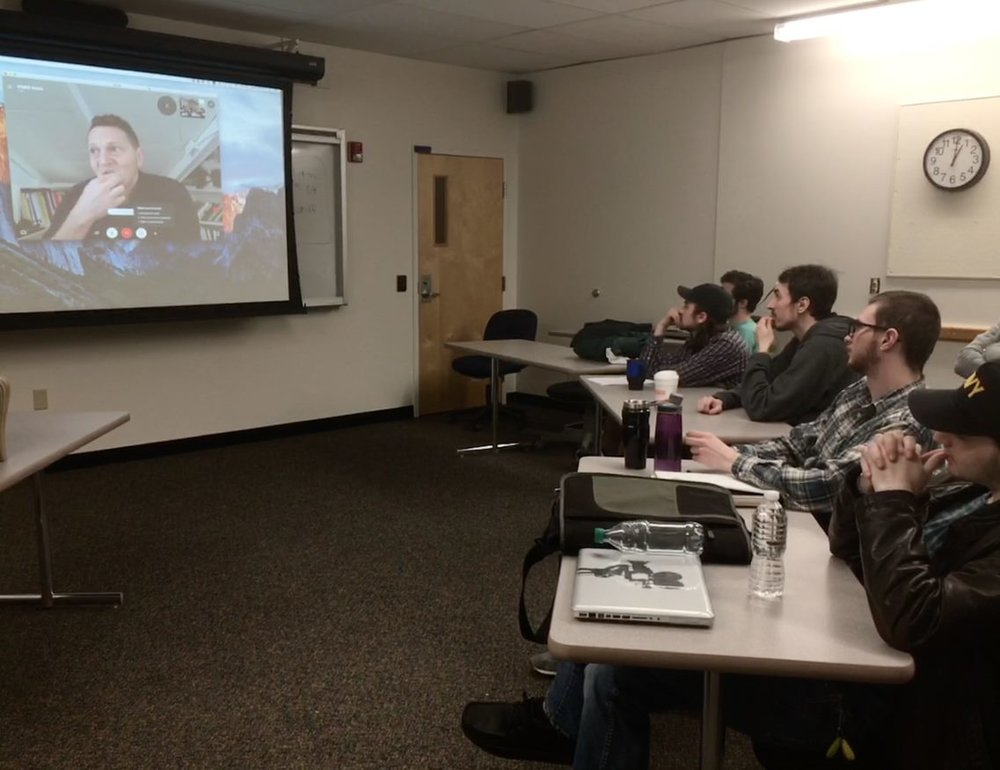 Matt Ross with students via Skype at Fitchburg State University.