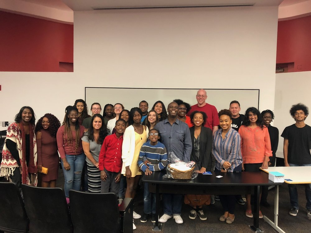 Anthony Sparks with students at California State University, Northridge.