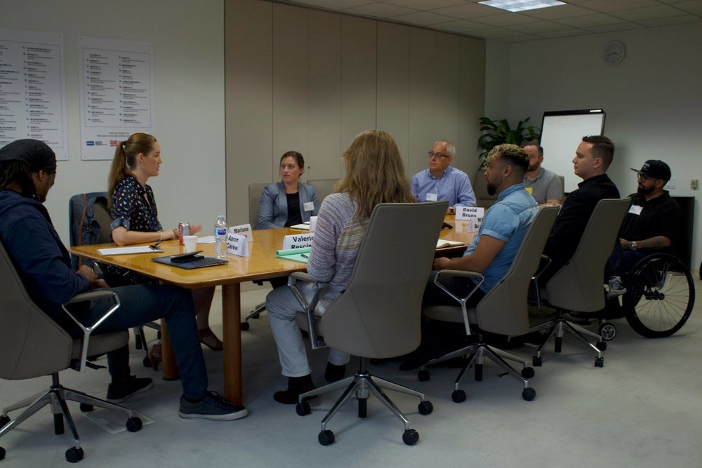 Group workshop at the 2018 Veterans Writing Retreat.