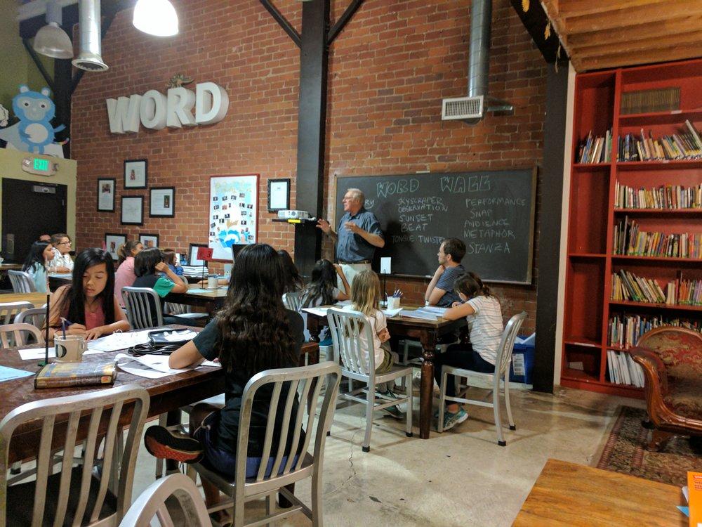 Gavin Scott with 826LA's Journalism program in July 2017.