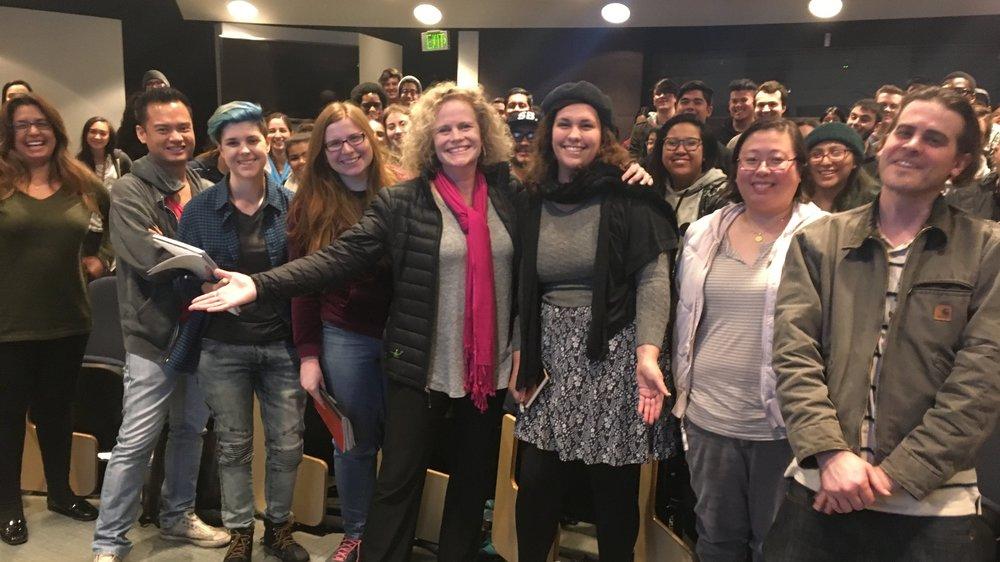 Meg LeFauve with university students