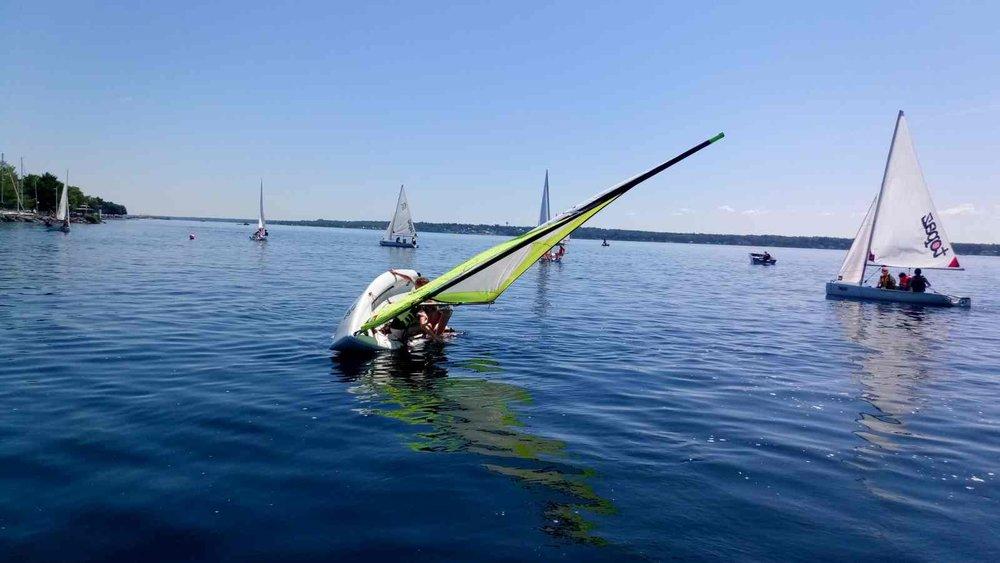 Brockville Yacht Club Sailing School dumping sailboat capsizing fun.jpg