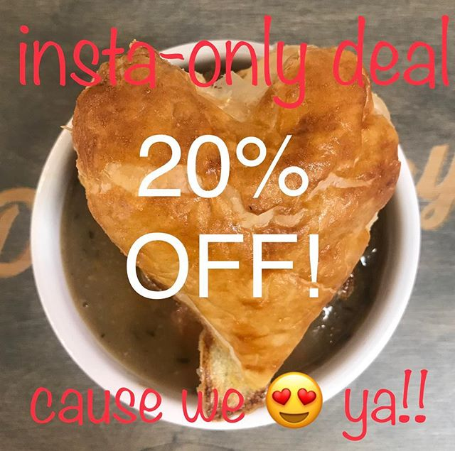 We're just feelin the love today.  We have been busy the last few days and it makes us happy to see so many smiling faces.  We want to see yours too! . . Show us this and get your 20% off, on anything.  One time use per customer please 😊 . . Tag your friends so they can get the discount too!!!!