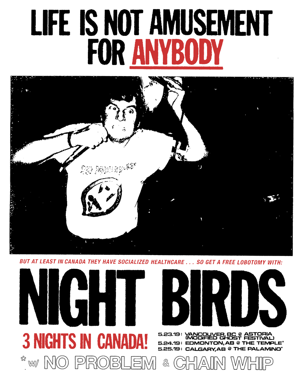 Just announced! We'll be playing 3 shows with our friends in Night Birds and 2 of them will also have No Problem in tow.  We're stoked. More info coming for Neon Waste and the label as well in the next little bit. Lots of other good shows going on in Vancouver the next while too.