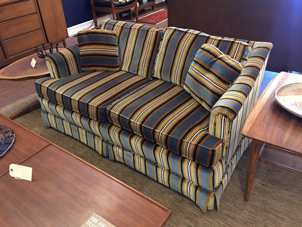 Matched sofa and love seat (shown here) by Henredon in sophisticated striped velvet (possibly a Jack Lenor Larsen textile). Exceptional vintage condition.   $1250 the pair