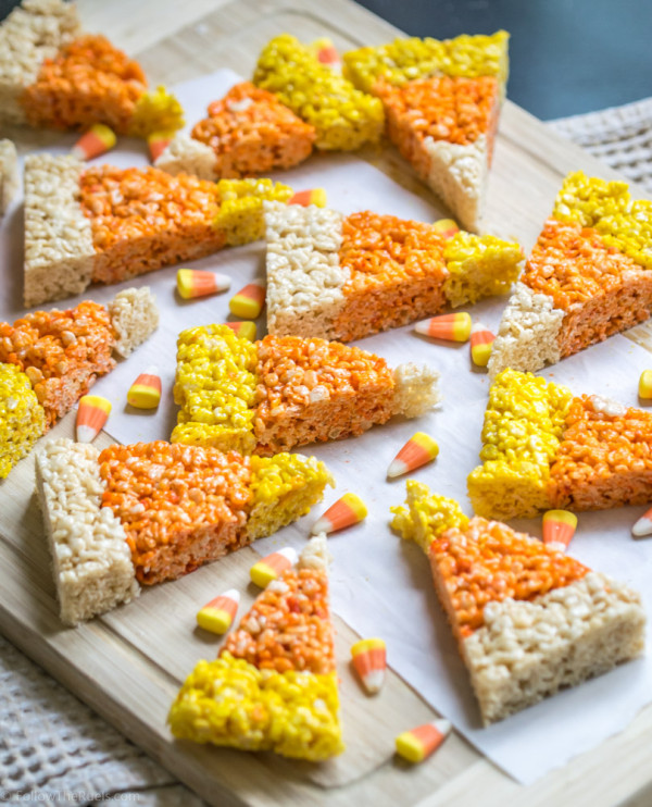 Candy Corn shaped Rice Krispie Treats