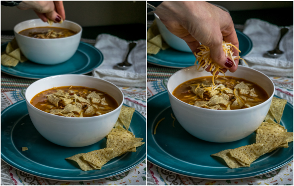 Chicken enchilada soup topped with cheese and chips