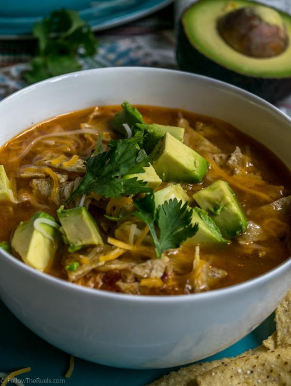 Slow cooker chicken enchilada soup recipe on Followtheruels.com
