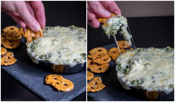 Cheese, creamy, kale artichoke dip recipe on Follow the Ruels