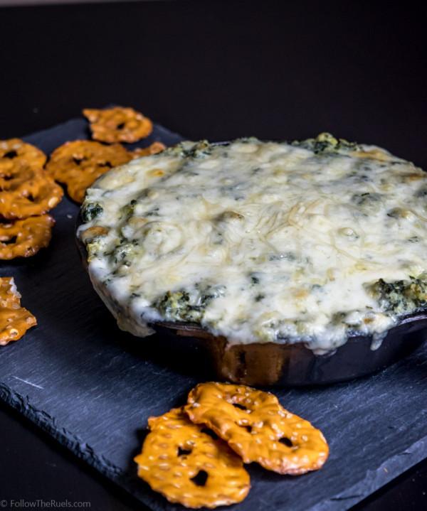 A lightened up version of Spinach Artichoke dip. Recipe on FollowtheRuels.com.