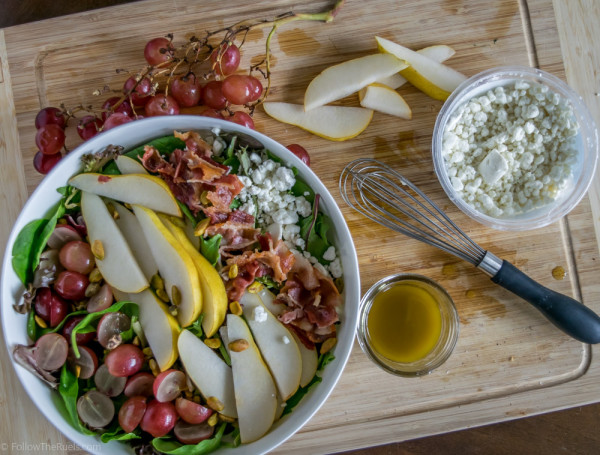Try this big salad topped with pair slices, bacon crumbles, goat cheese and grapes.