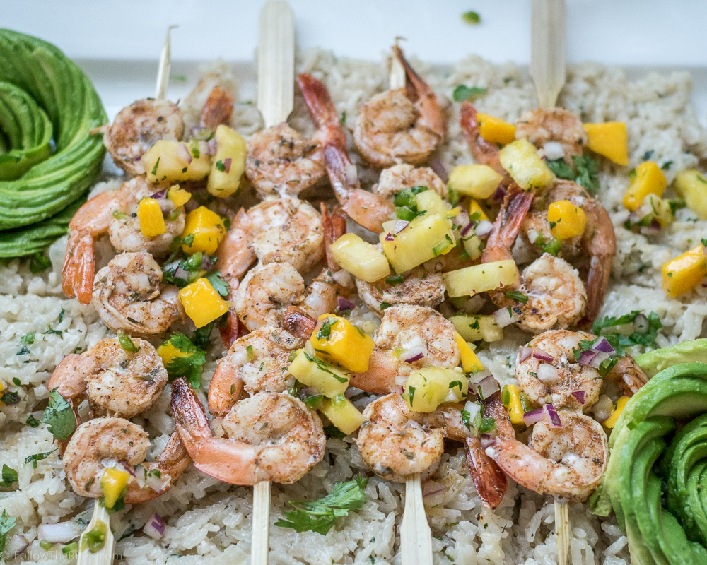 Jamaican Jerk Shrimp Skewers with Pineapple Mango Salsa