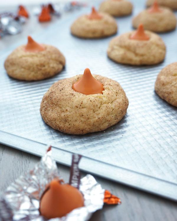 Pumpkin spice Hersey Kisses in snickerdoodle cookies