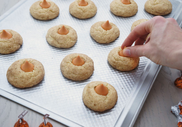 Snickerdoodle cookies topped with pumpkin spice Hersey Kisses