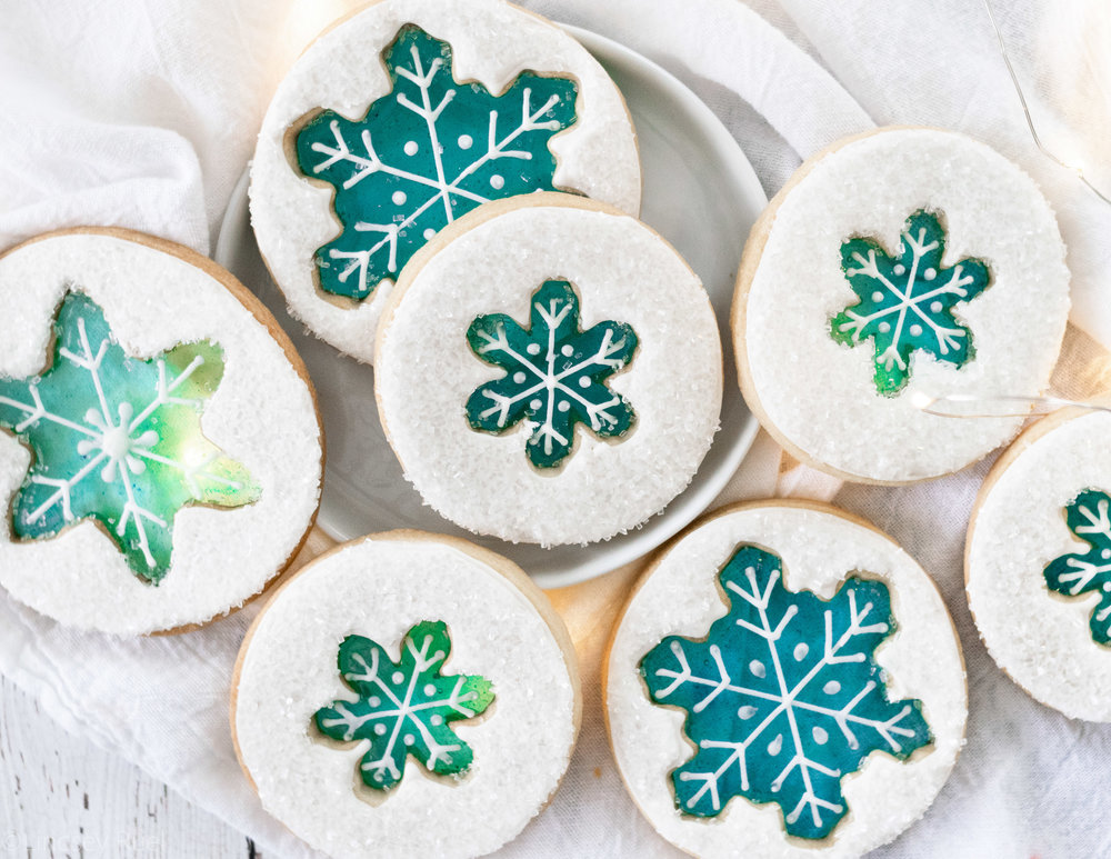 Stained Glass Snowflake Cookies