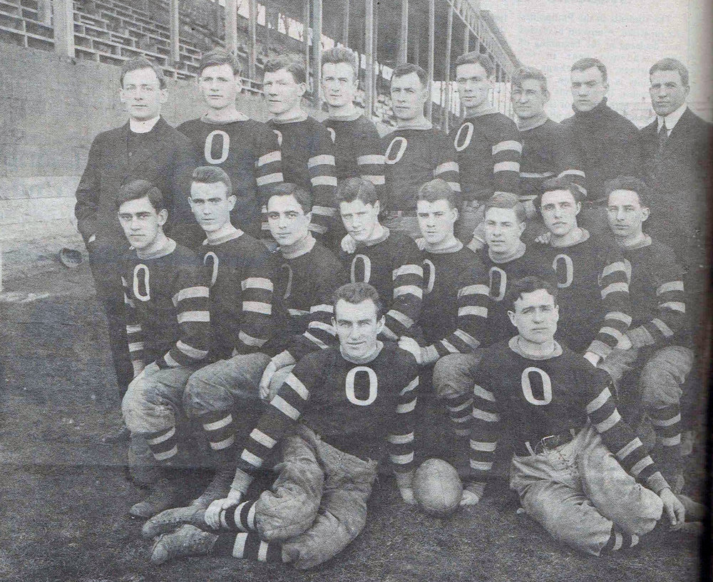 1912 Garnet and Grey varsity football team. Coached by Father William Stanton