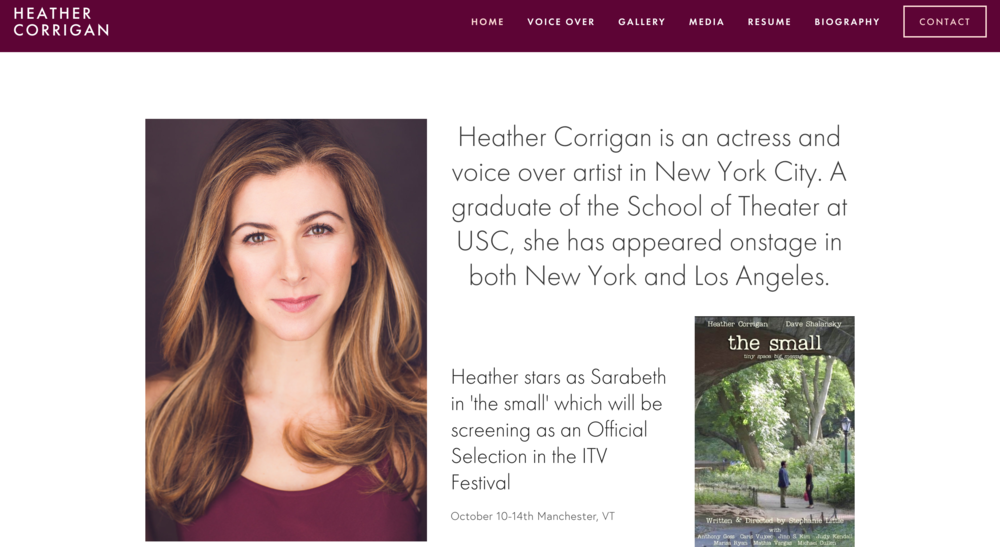 Concept Theory Website for Heather Corrican
