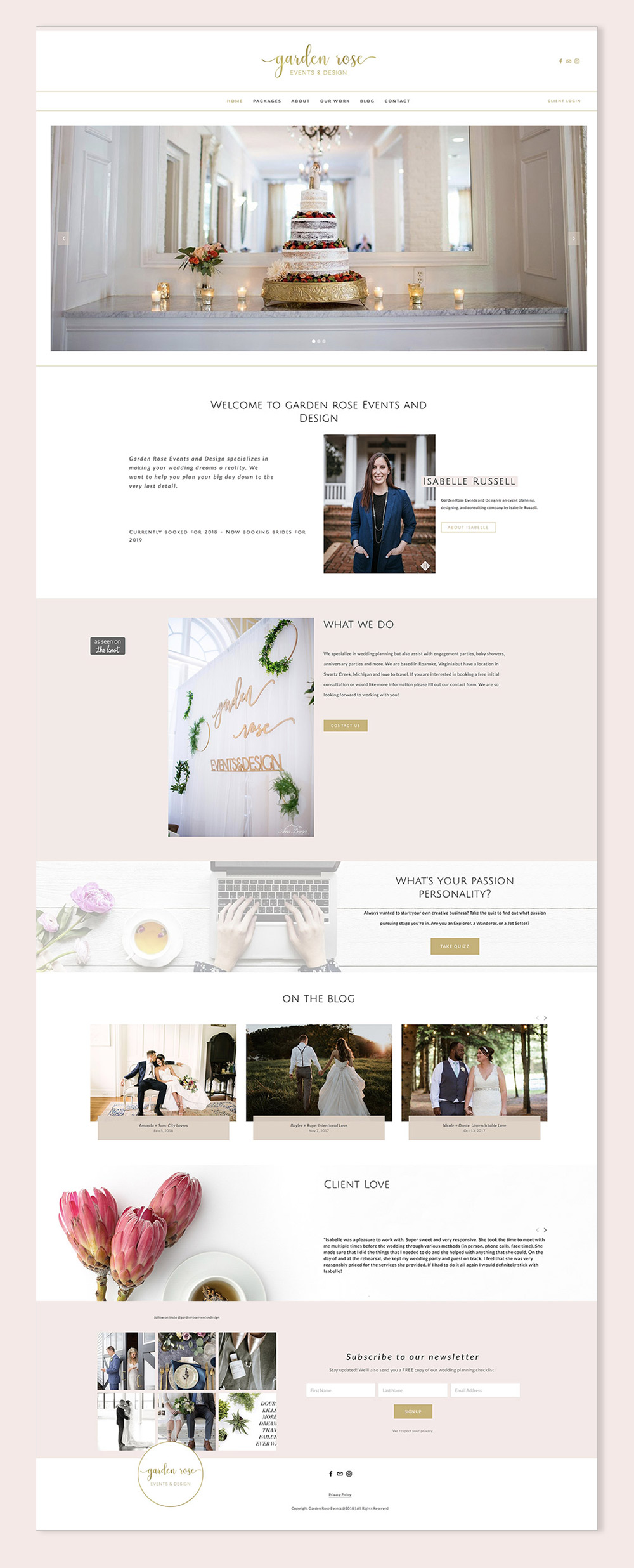 Garden Rose Events | Squarespace web design for a wedding event planner by Jodi Neufeld Design