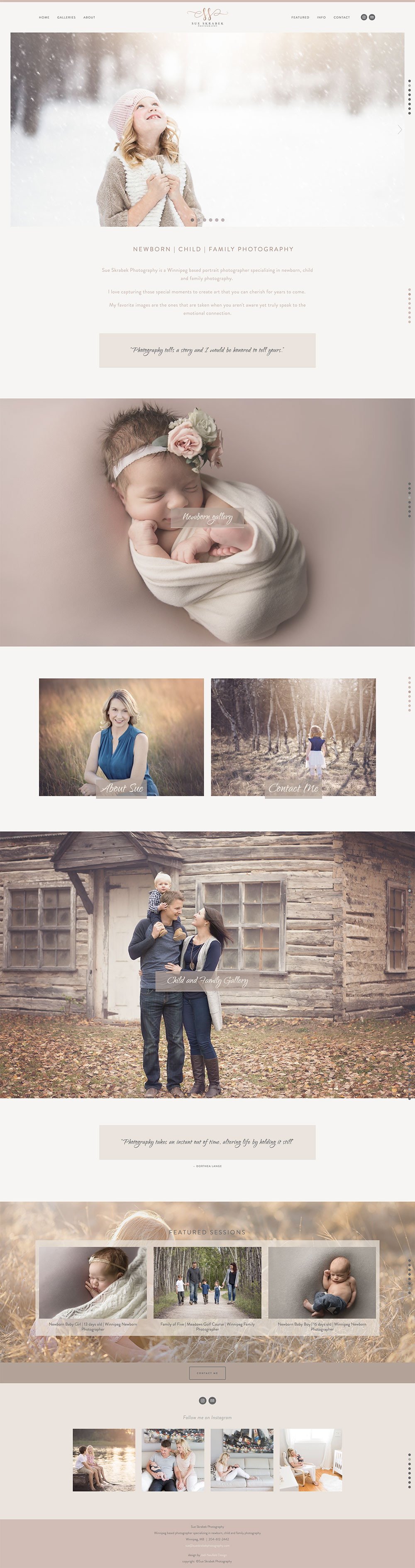 Sue Skrabek photography home page | Web Design by Jodi Neufeld Design | Squarespace web designer