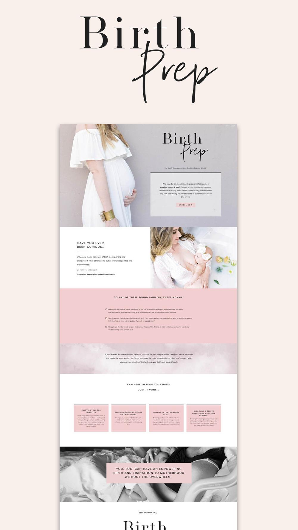 Birth Prep sales page | Squarespace design by Jodi Neufeld Design