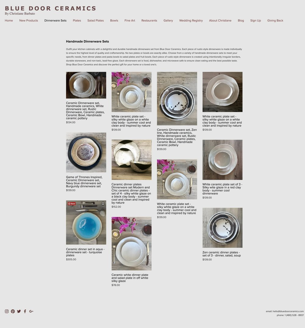 Before: Dinnerware page