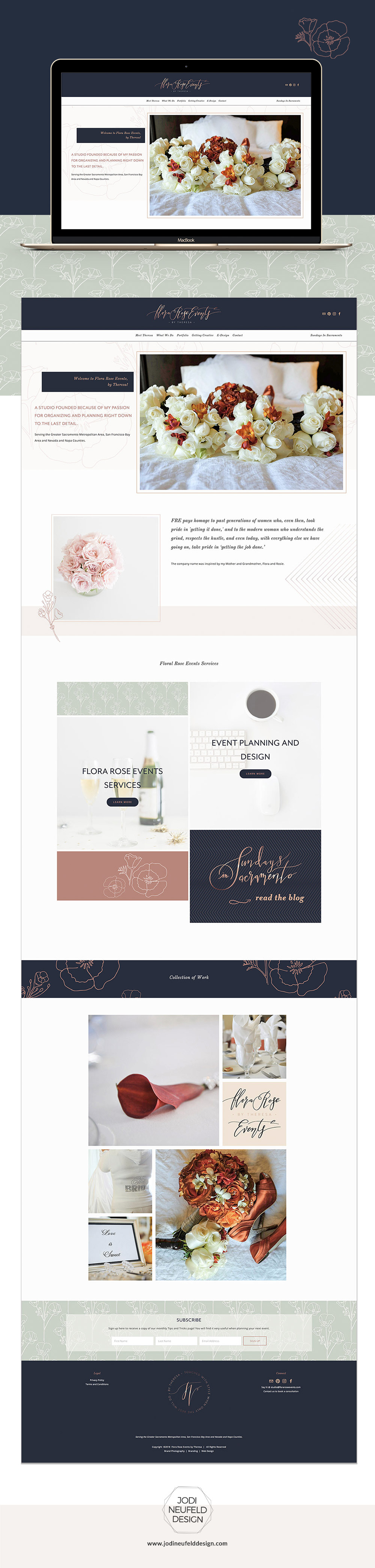 Flora Rose Events Home page | Event planning Squarespace website | web design by Jodi Neufeld Design | Squarespace Designer