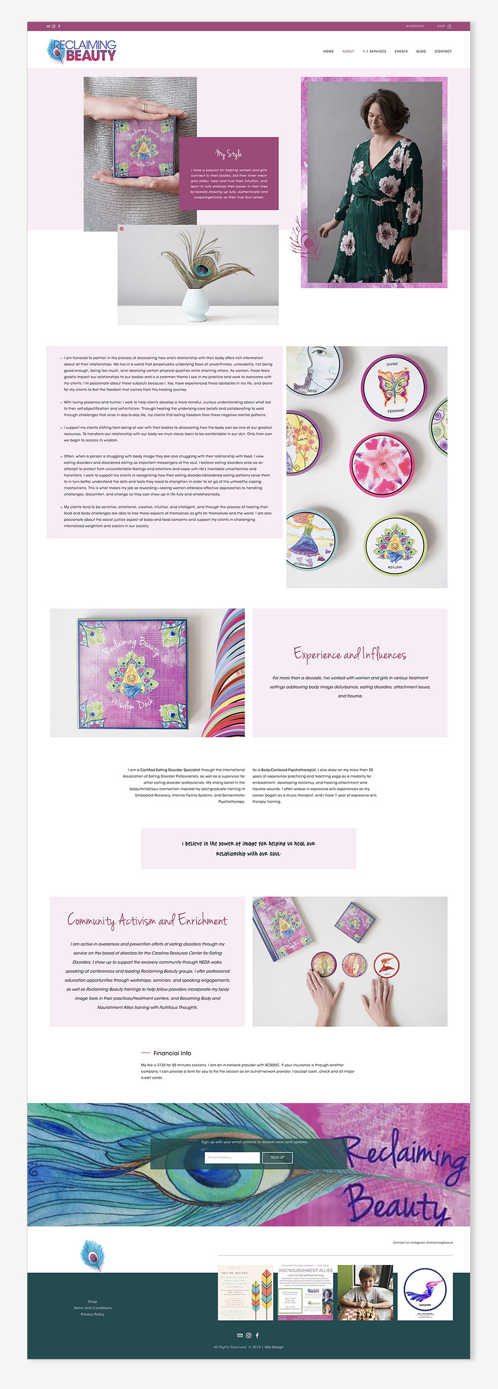 Reclaiming Beauty About page | website design by Jodi Neufeld Design
