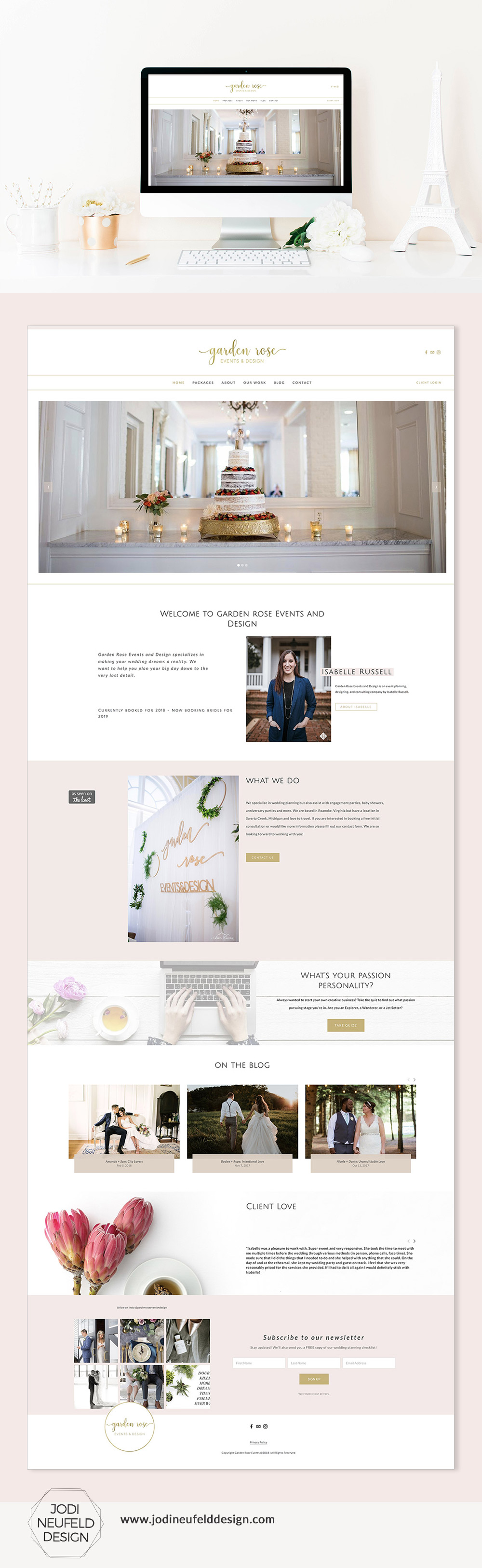 Home page of Garden Rose Events & Design wedding planner website | Squarespace web design by Jodi Neufeld Design