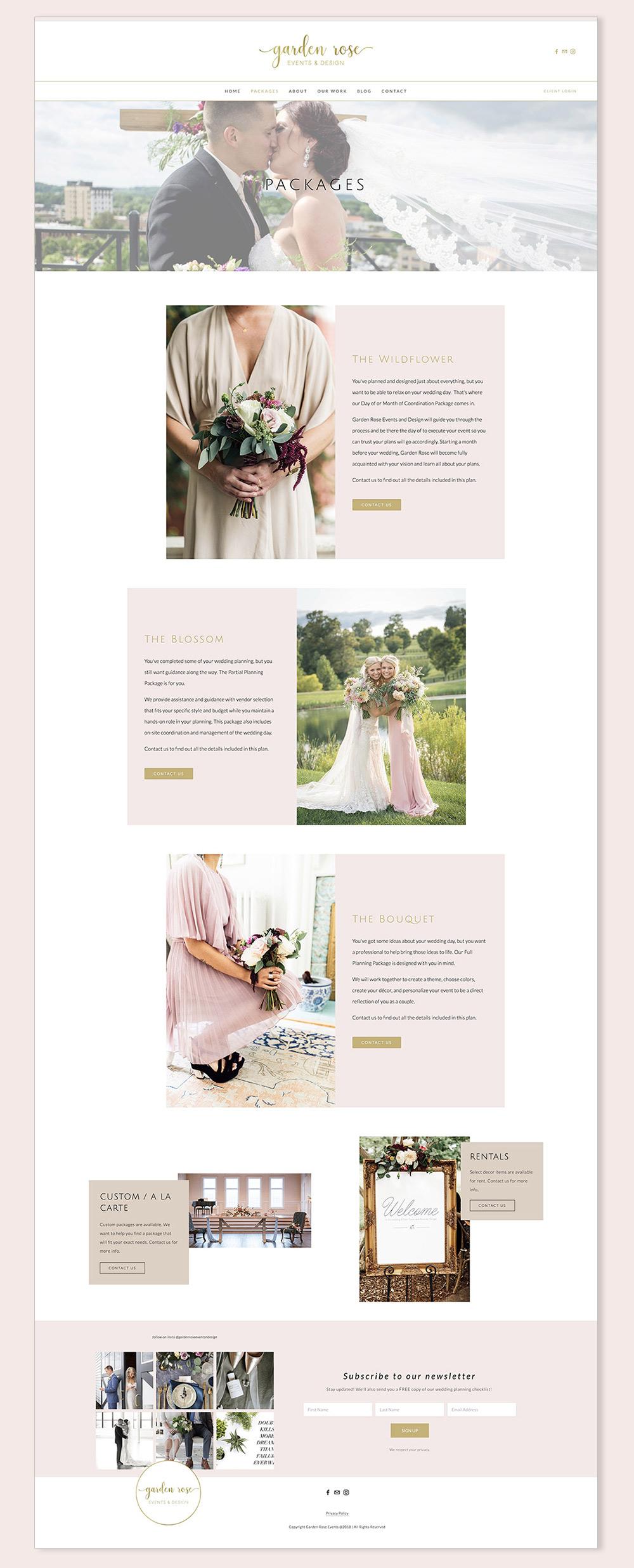 Packages page | Garden Rose Events & Design website | Squarespace web design by Jodi Neufeld Design