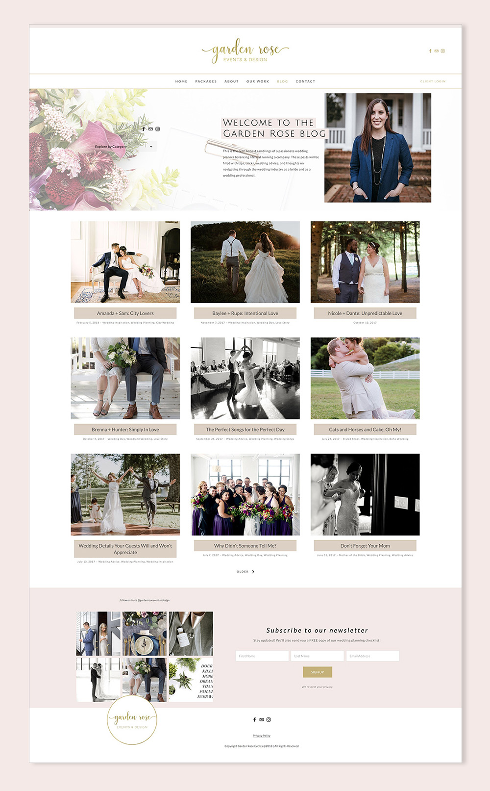 blog page for wedding planner | Garden Rose Events & Design | Squarespace web design by Jodi Neufeld Design